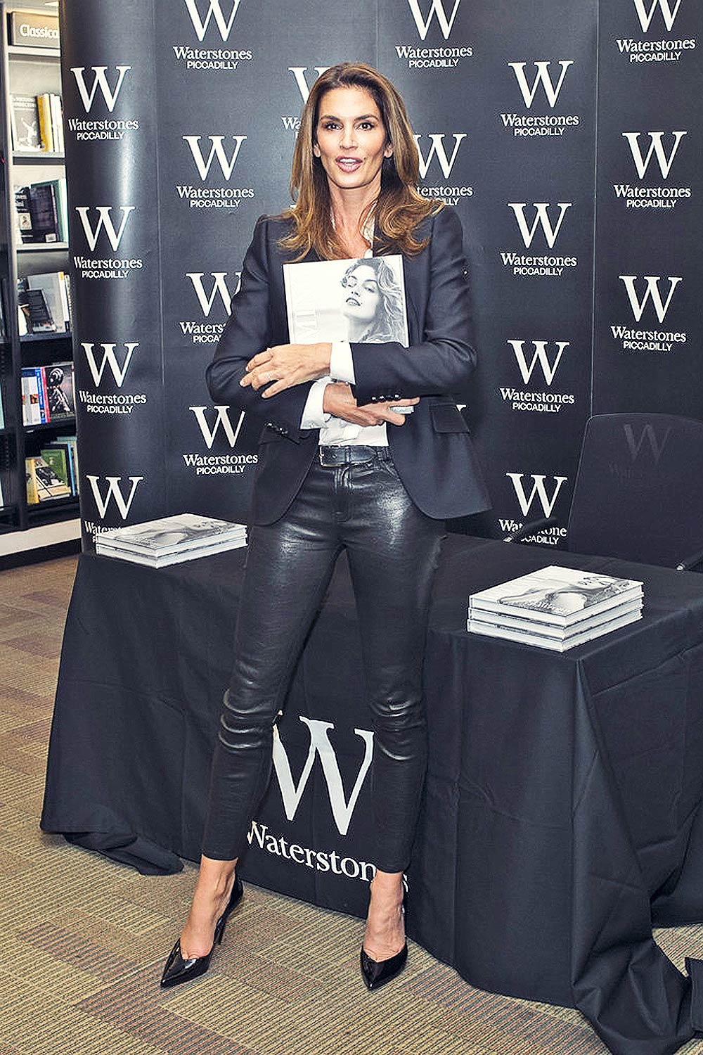 Cindy Crawford signs copies of her book Becoming at Waterstones