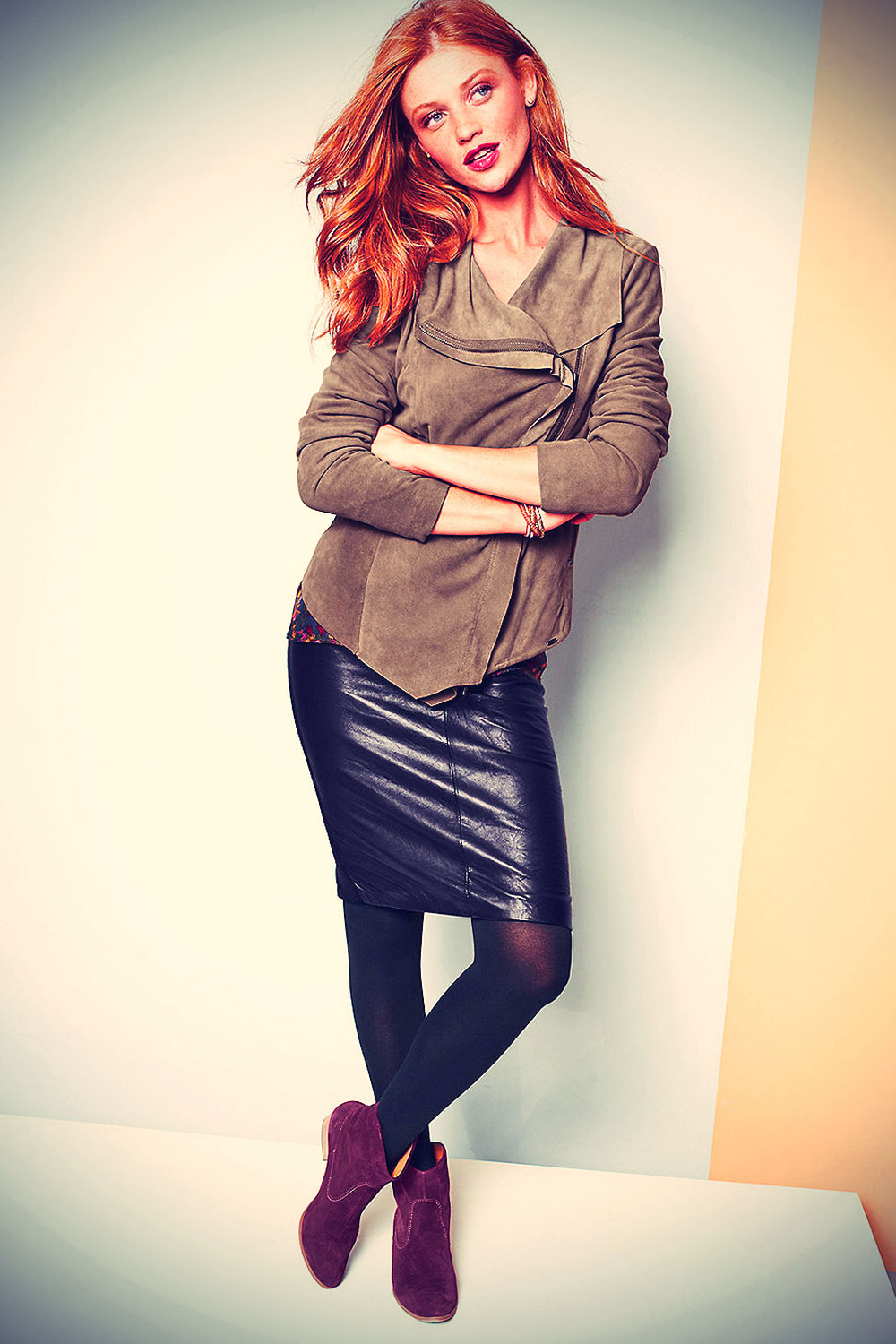 Cintia Dicker at a photoshoot for the 2013 Garnet Hill Collection