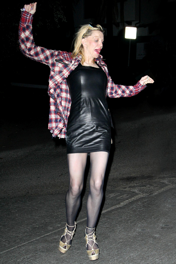 Courtney Love takes a Spill Behind The Chateau Marmont in LA