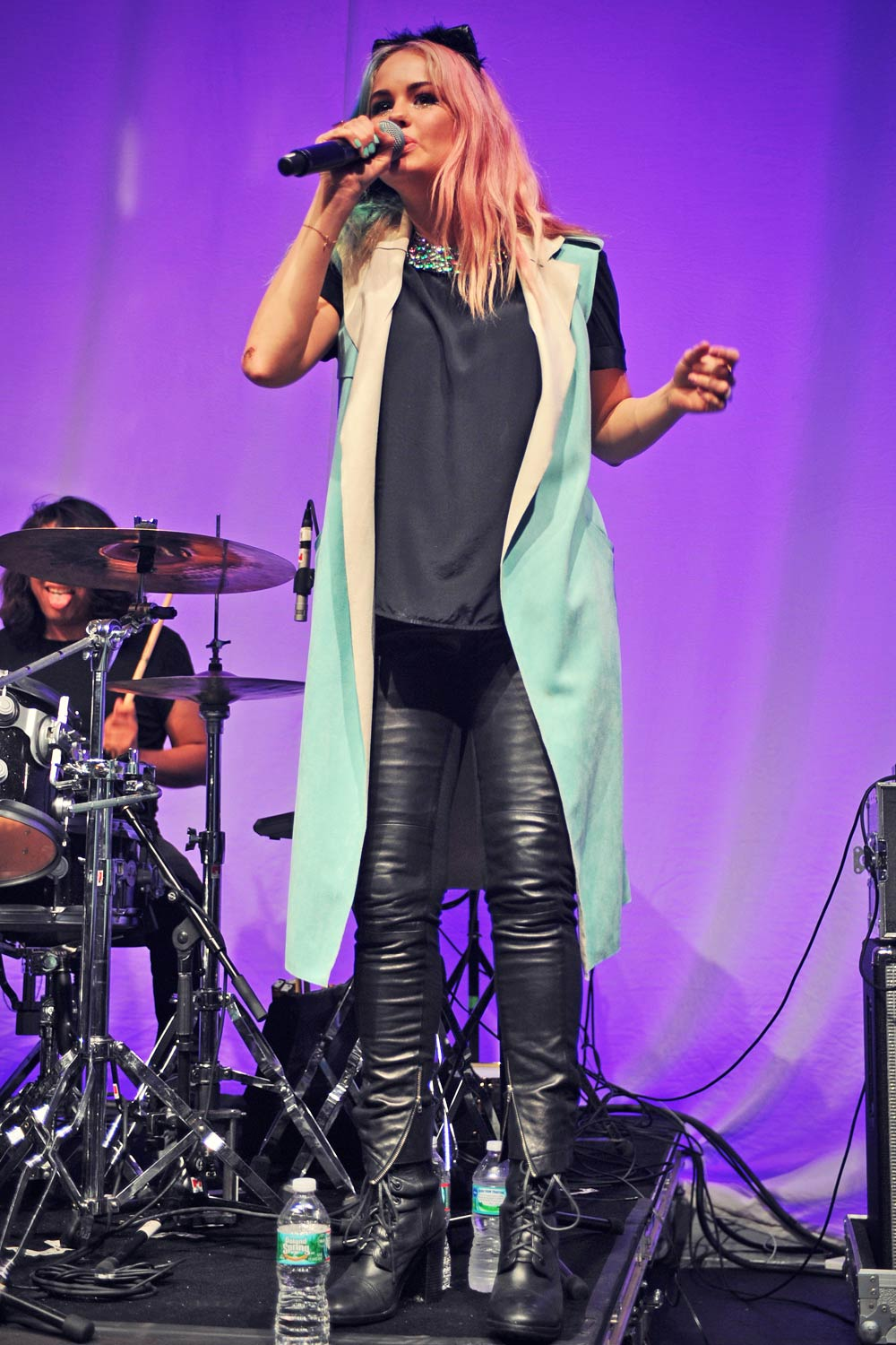 Debby Ryan Performance Candids In Miami Leather Celebrities