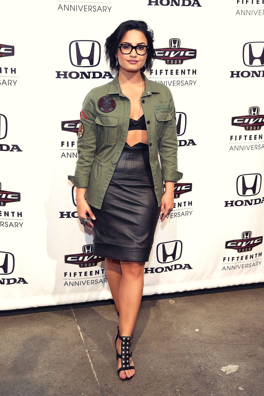 Demi Lovato Attends The Honda Civic Event Leather