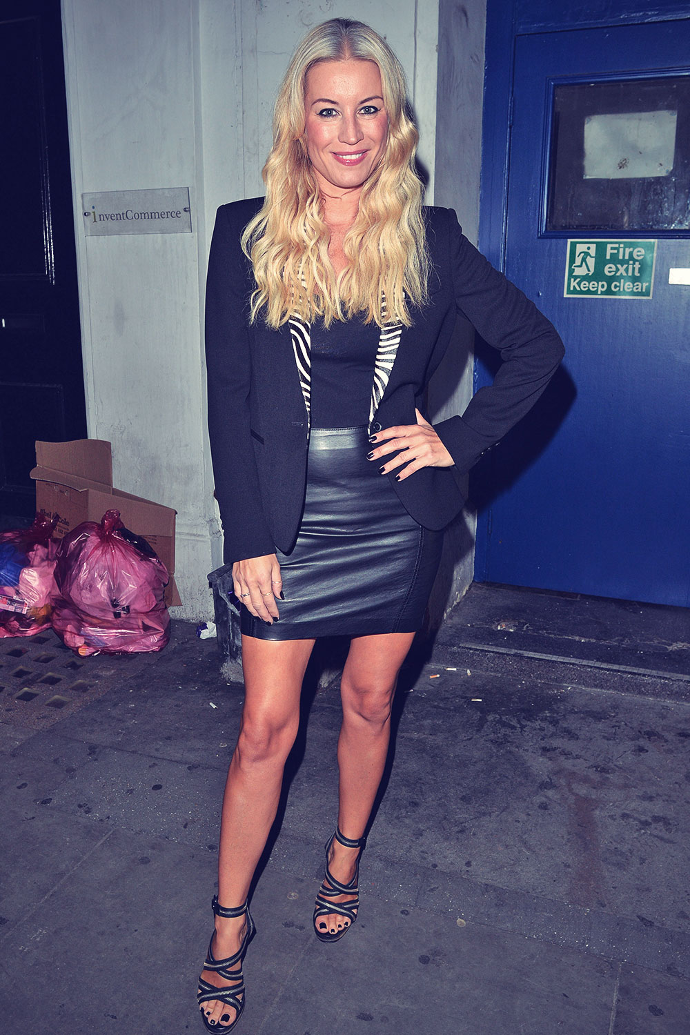 Denise Van Outen leaving the Arts Theatre