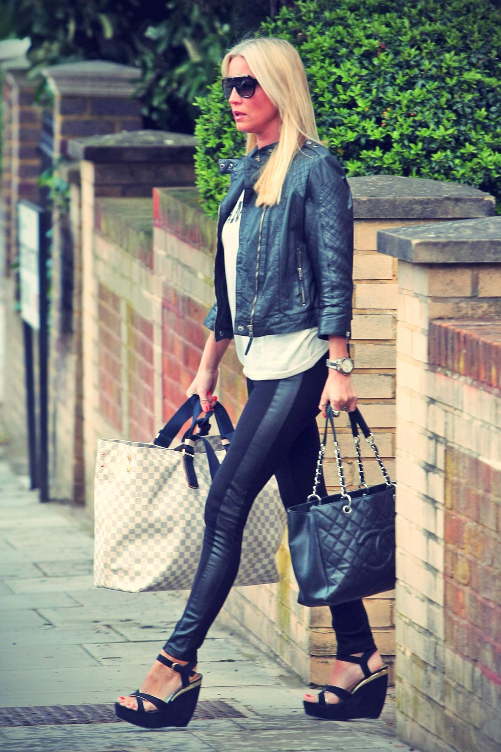 Denise van Outen leaving her London home