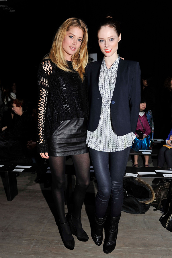Doutzen Kroes and Coco Rocha attends the Theyskens Theory Fall 2012 fashion show during Mercedes-Ben