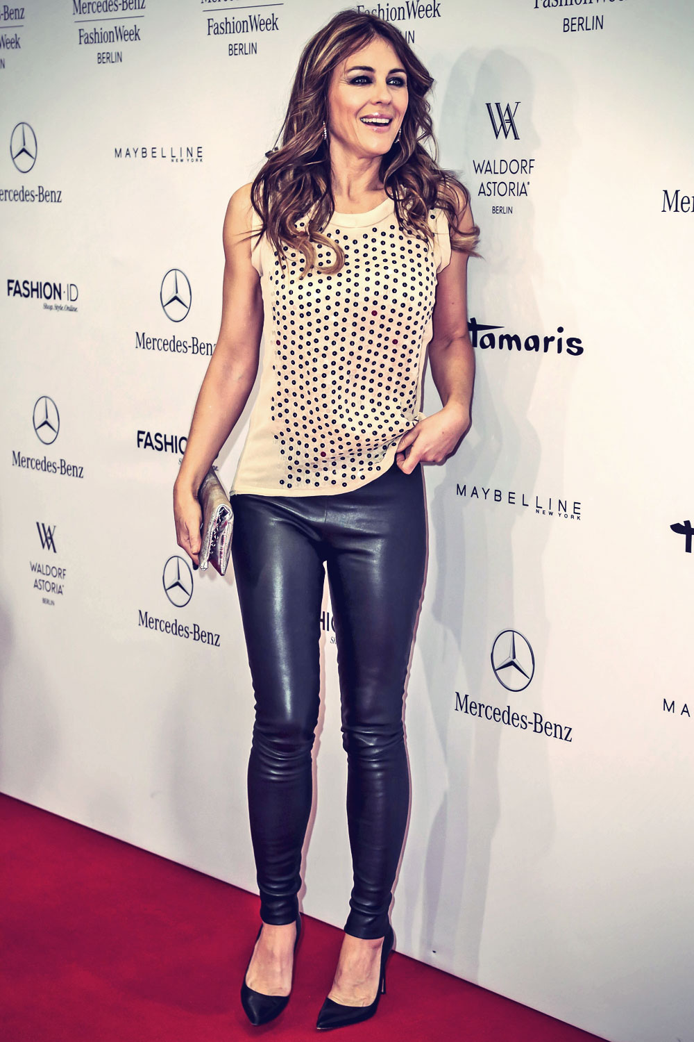 Elizabeth Hurley attends Marc Cain show during Mercedes-Benz Fashion Week