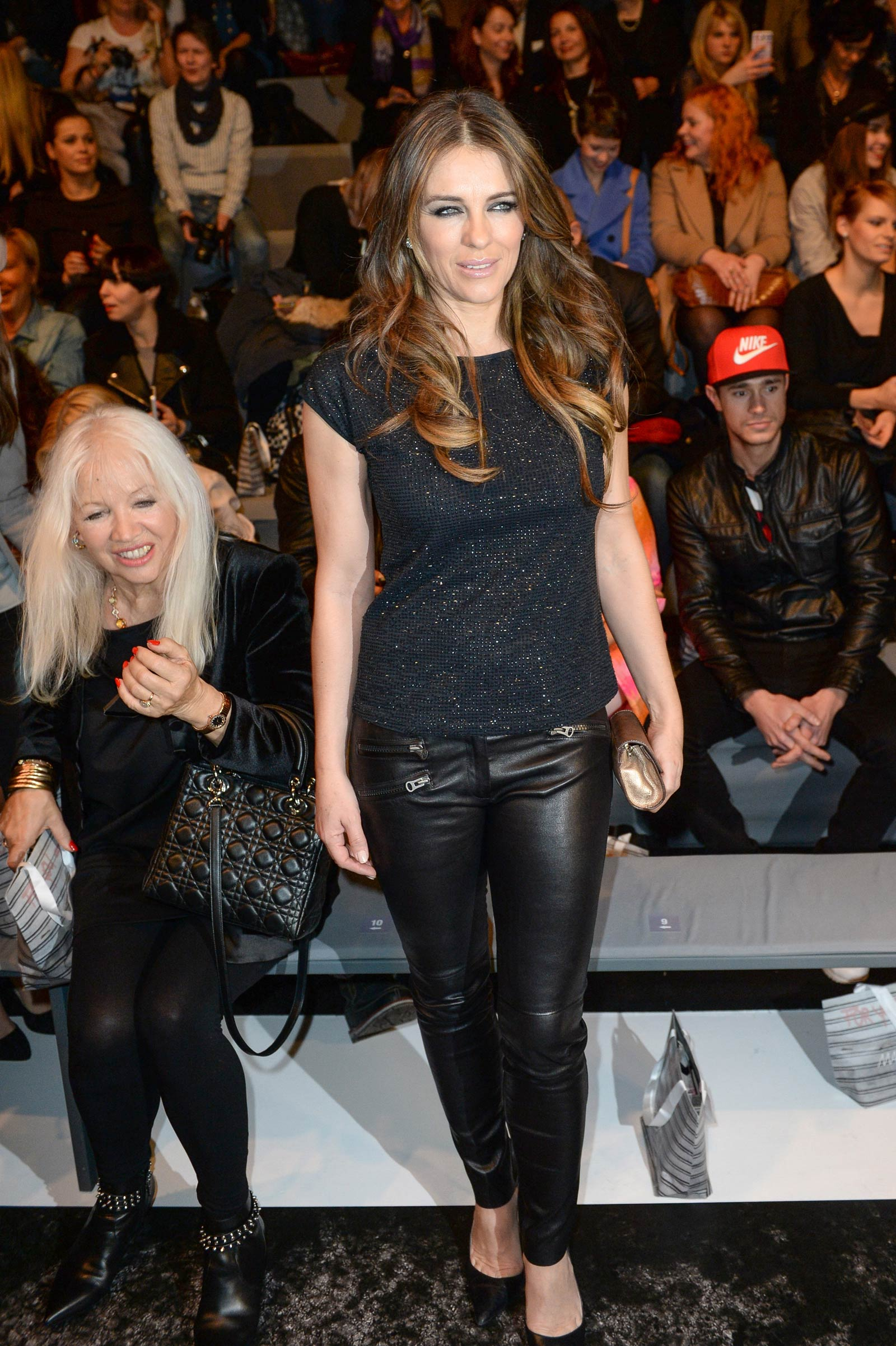 Elizabeth Hurley attends the Marc Cain show at the Mercedes-Benz Fashion Week
