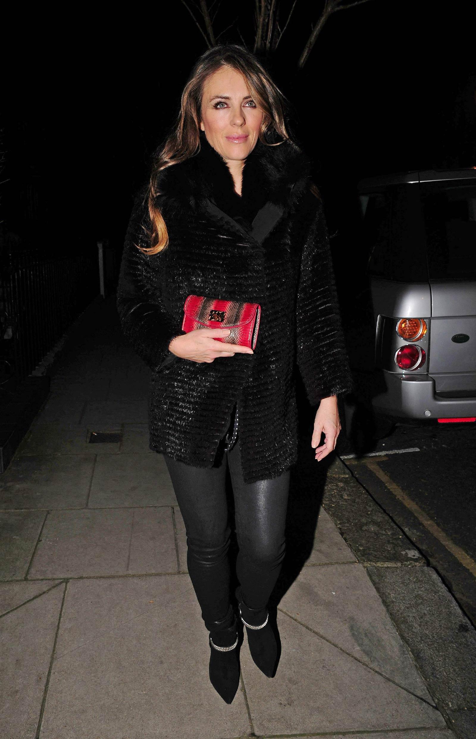 Elizabeth Hurley leaving her home in London