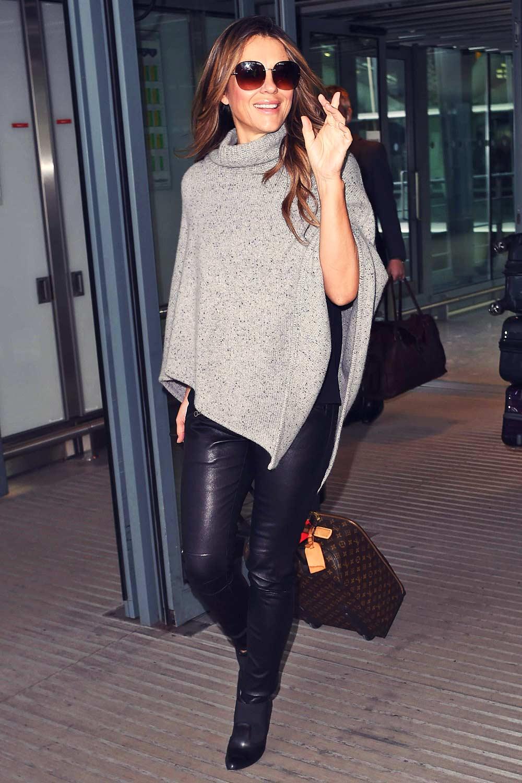 Elizabeth Hurley seen at Heathrow airport