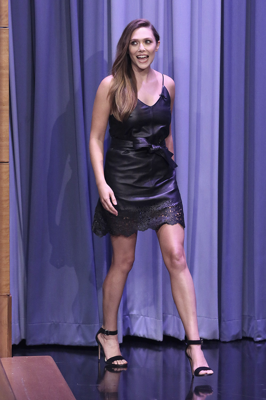 Elizabeth Olsen attends The Tonight Show