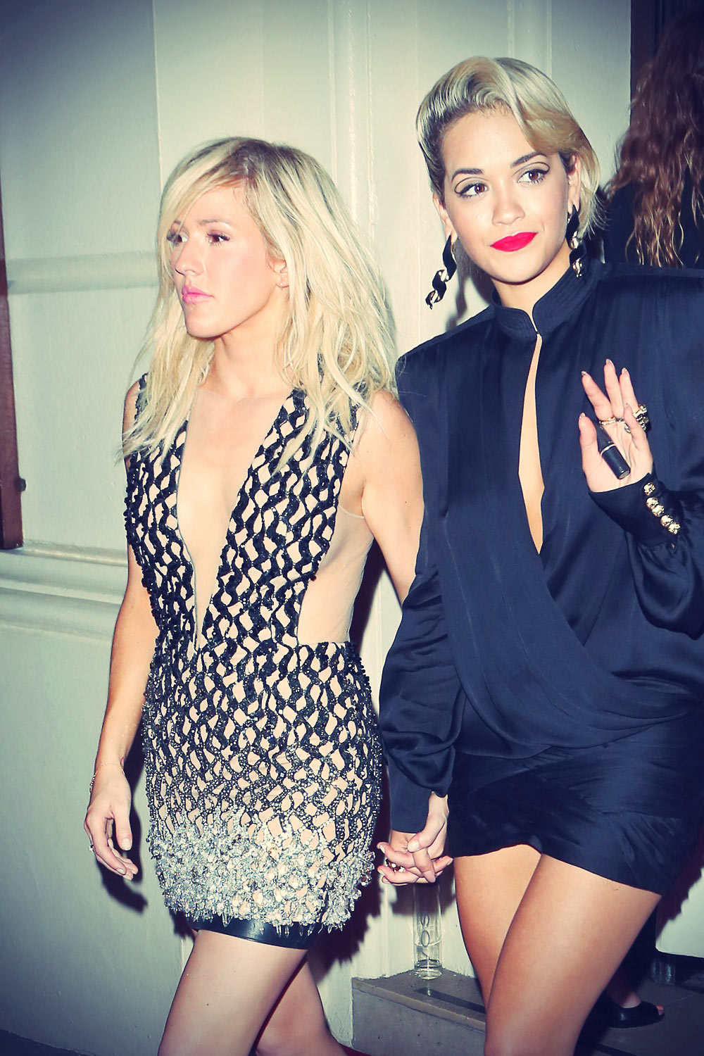 Ellie Goulding and Rita Ora leaving the GQ Men Of The Year Awards