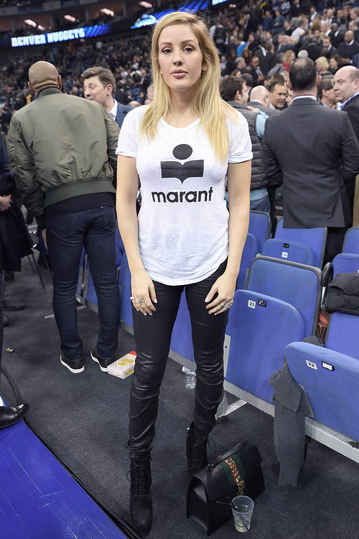 Ellie Goulding attends the Denver Nuggets v Indiana Pacers match
