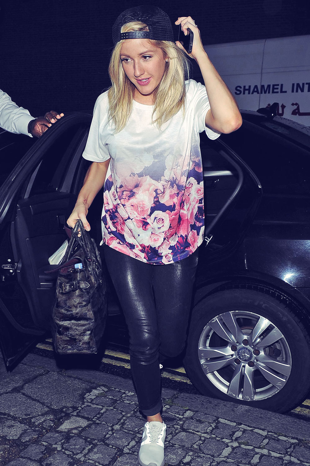 Ellie Goulding greets her fans outside the BBC Radio1