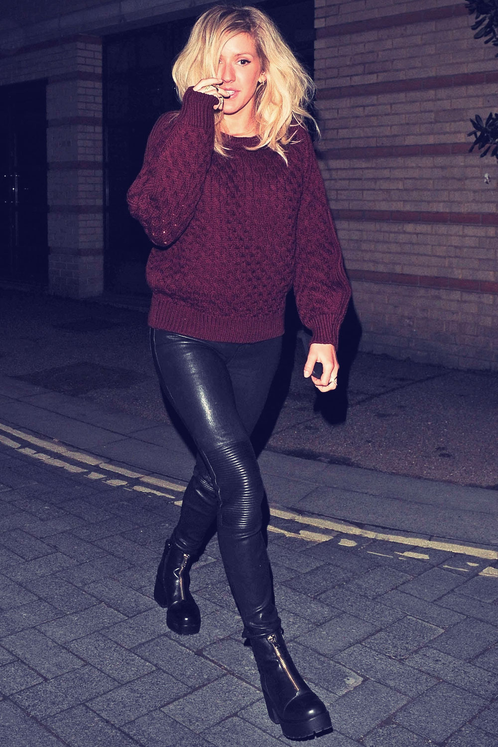 Ellie Goulding leaving the OXO Tower Brasserie