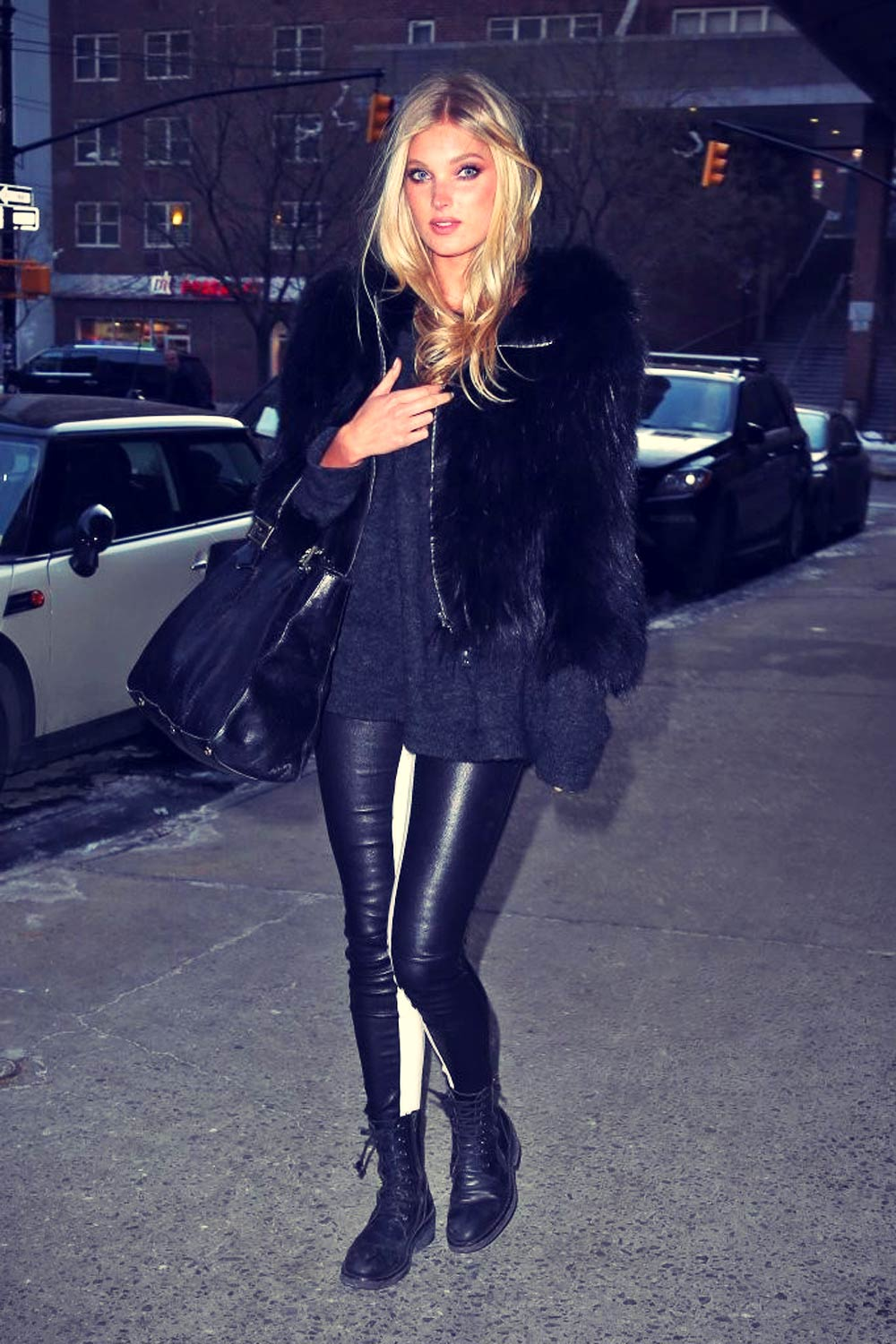 Elsa Hosk Out And About In New York City Leather Celebrities