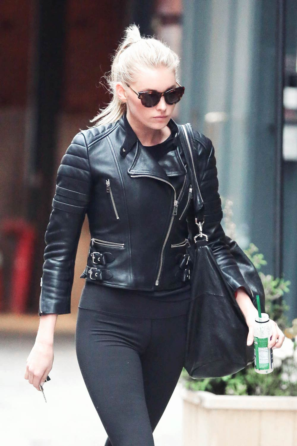 Elsa Hosk Out In New York Leather Celebrities