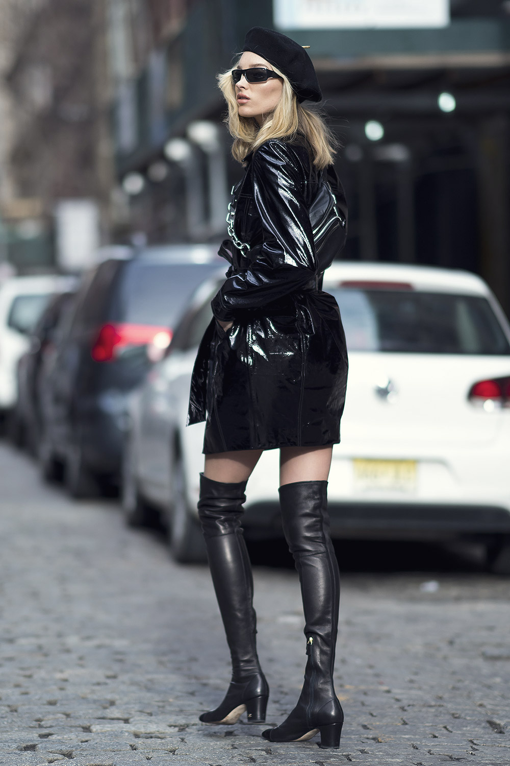 Elsa Hosk seen wearing an Elizabeth Sulcer X Miss Sixty coat