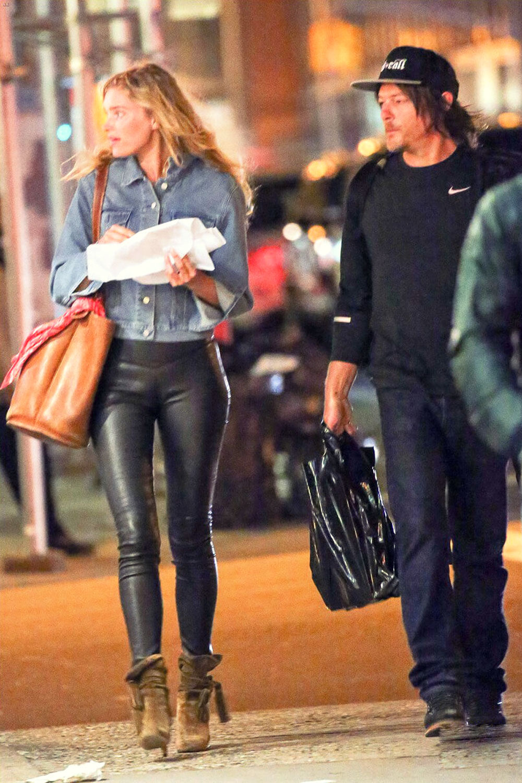 Elsa Hosk Walking Around In New York City Leather