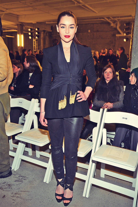 Emilia Clarke Altuzarra Fall 2013 Fashion Show in New York, February 9, 2013