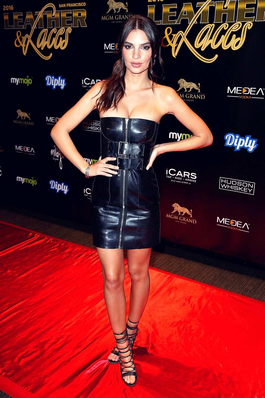 Emily Ratajkowski attends Leather & Laces mega party