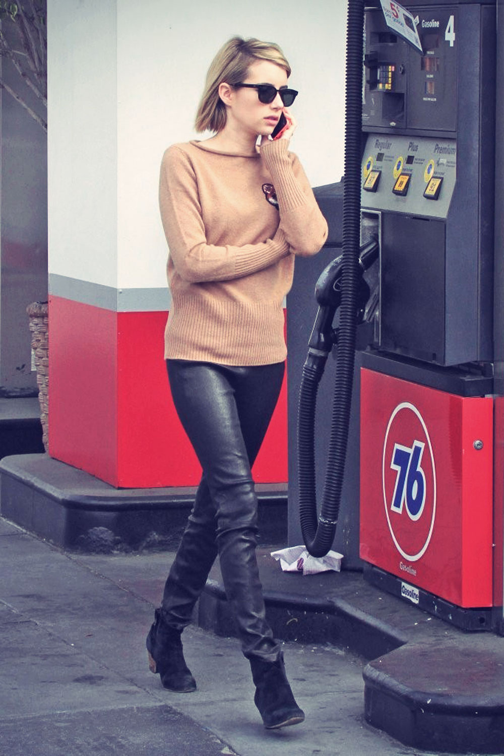 Emma Roberts stops by a gas station in West Hollywood