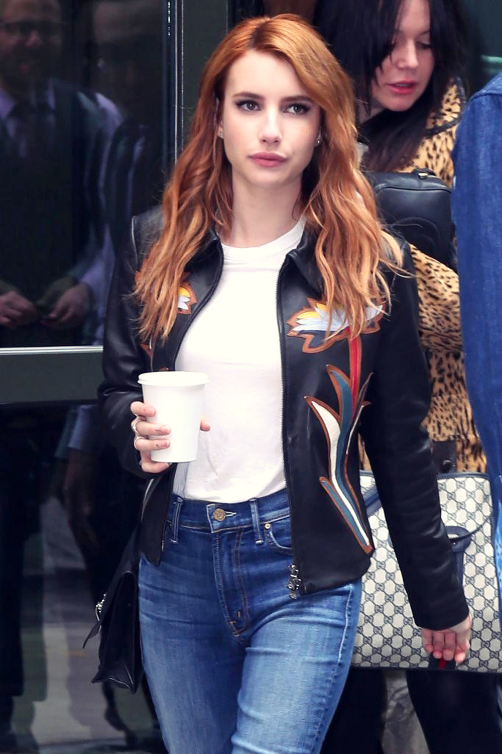 Emma Roberts Out In New York City Leather Celebrities