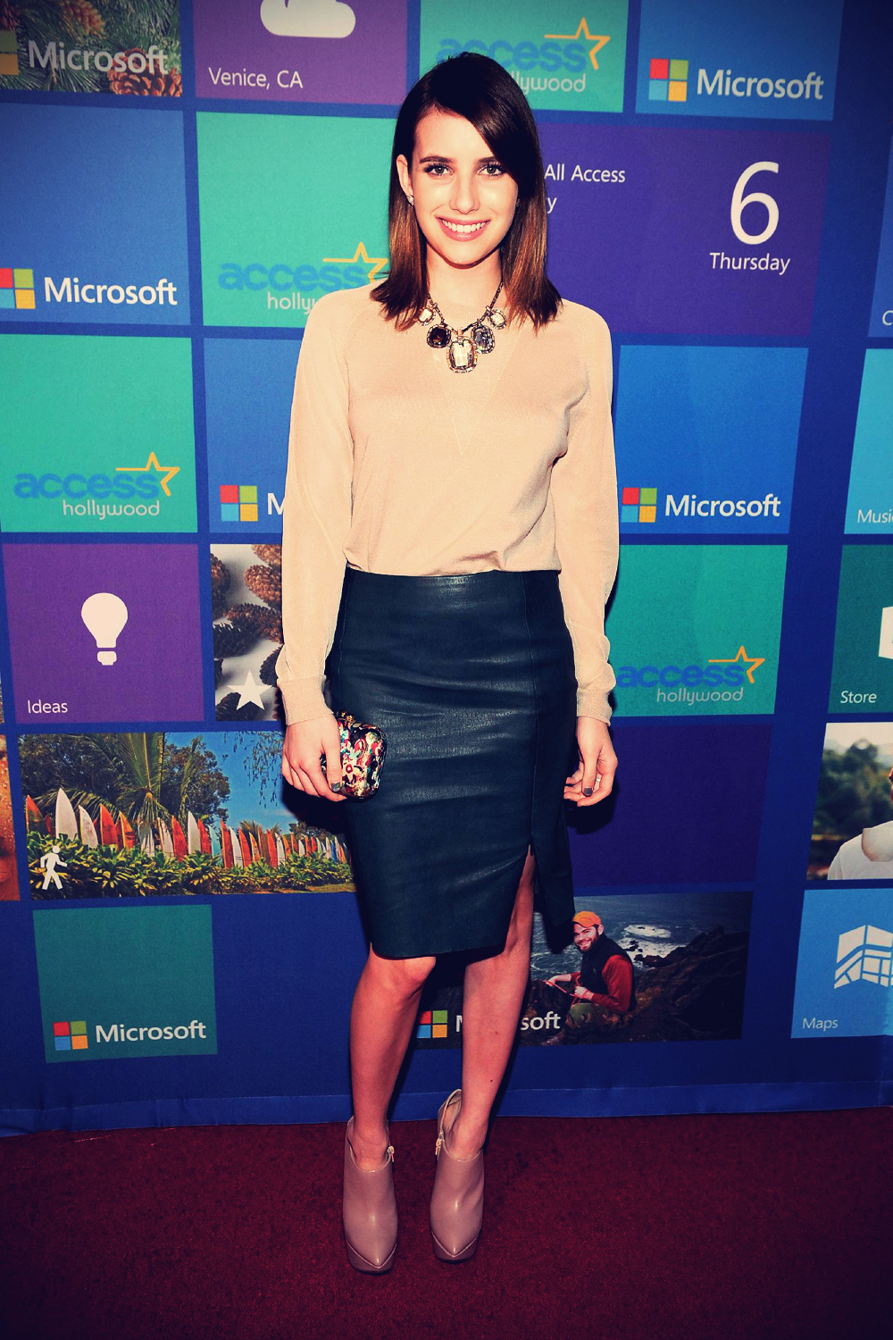 Emma Roberts attends Microsoft All Access Holiday Party