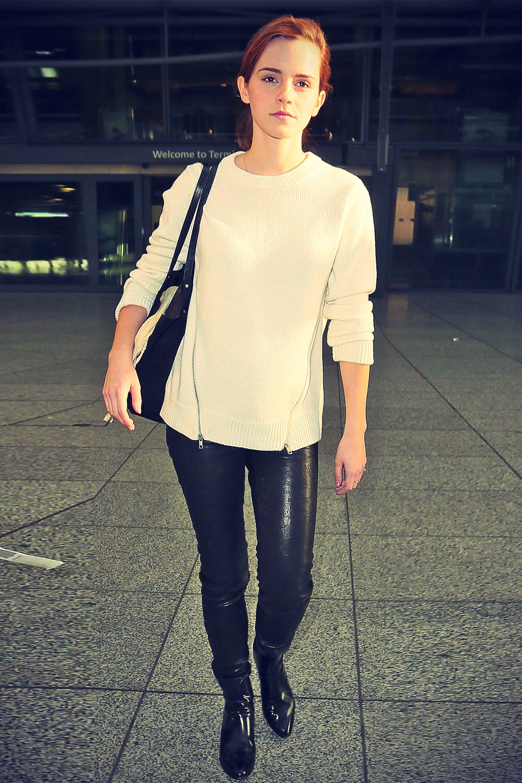 Emma Watson Heathrow airport arrival candids