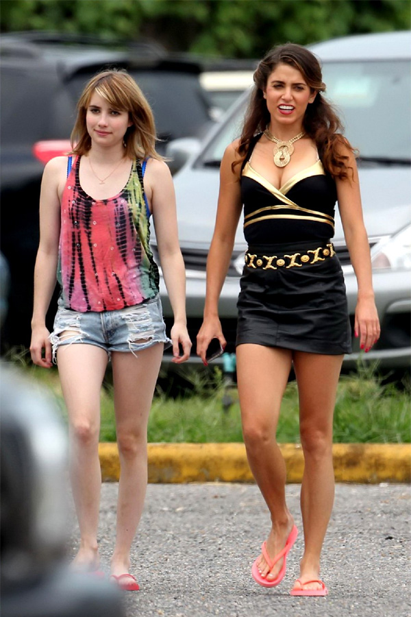 Emma Roberts & Nikki Reed in leather skirt