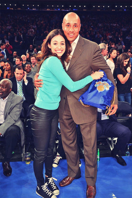 Emmy Rossum Oklahoma City Thunder vs New York Knicks candids