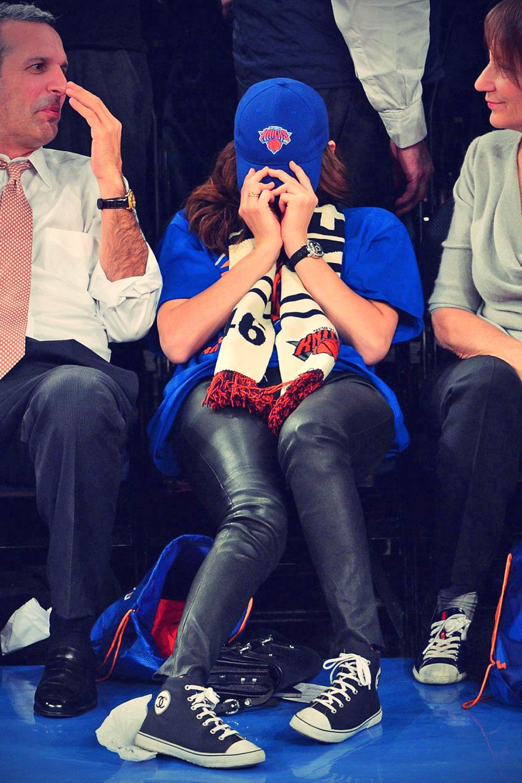 Emmy Rossum attends Oklahoma City Thunder vs New York Knicks