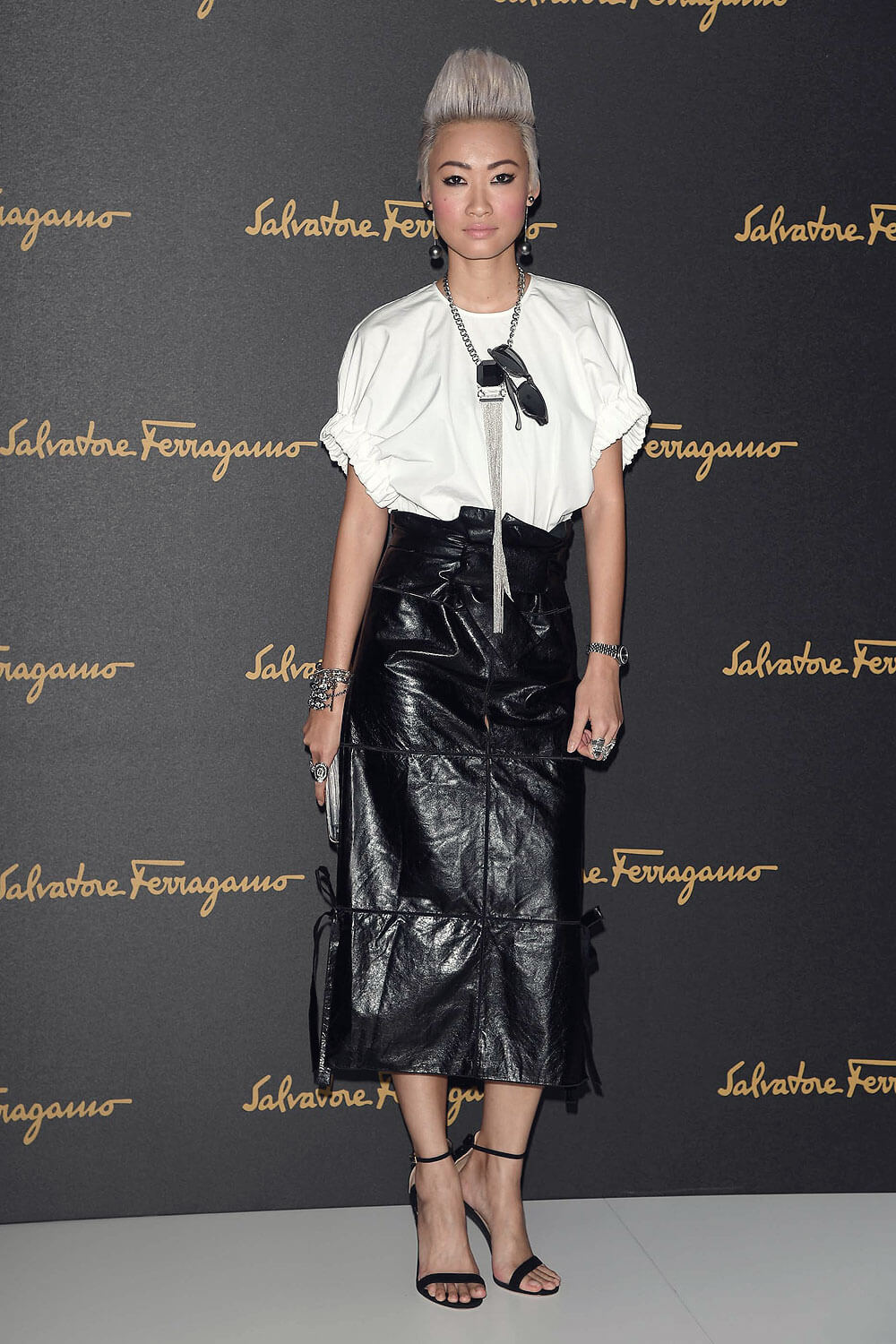 Ester Quek arrives at the Salvatore Ferragamo show