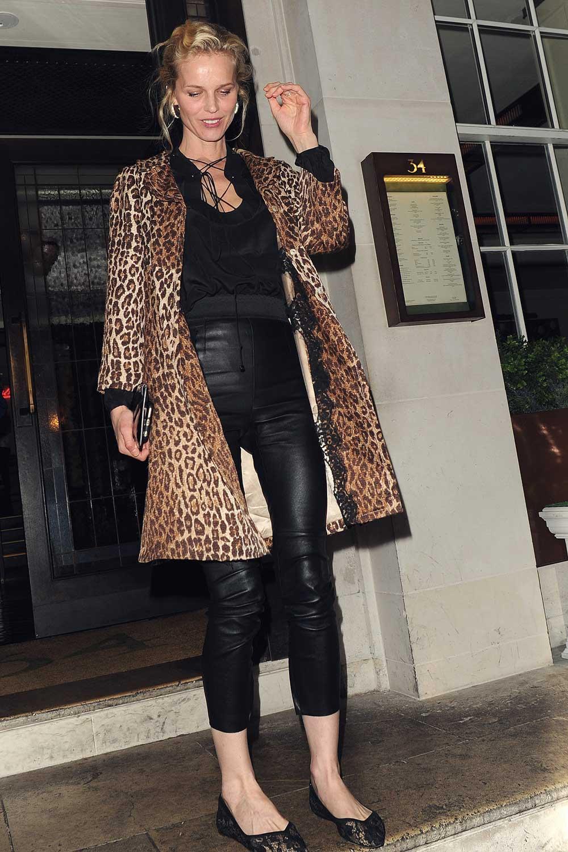 Eva Herzigova Leaving 34 Mayfair Restaurant Leather