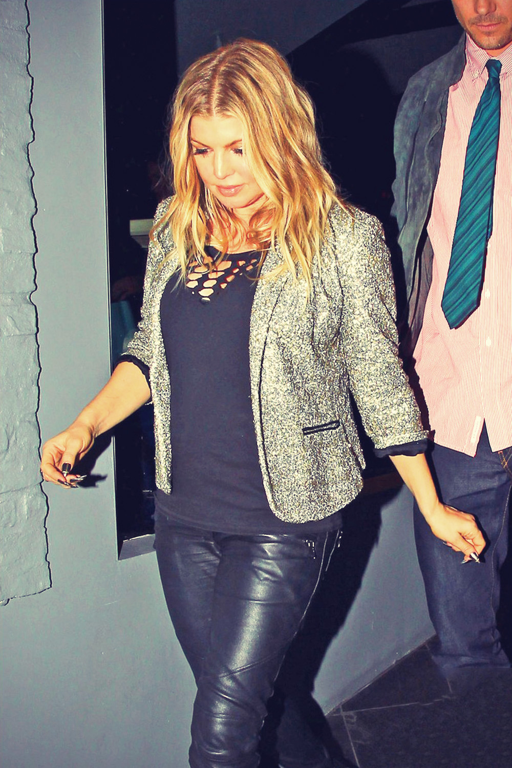 Fergie exiting Smoke Restaurant
