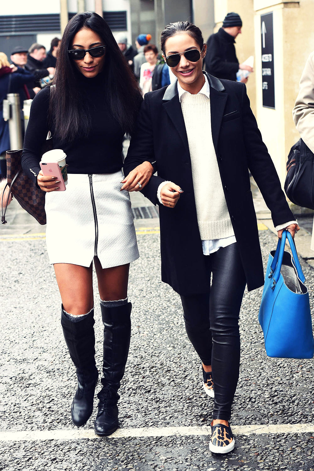 Frankie Bridge And Karen Clifton Leaving Their Hotel In