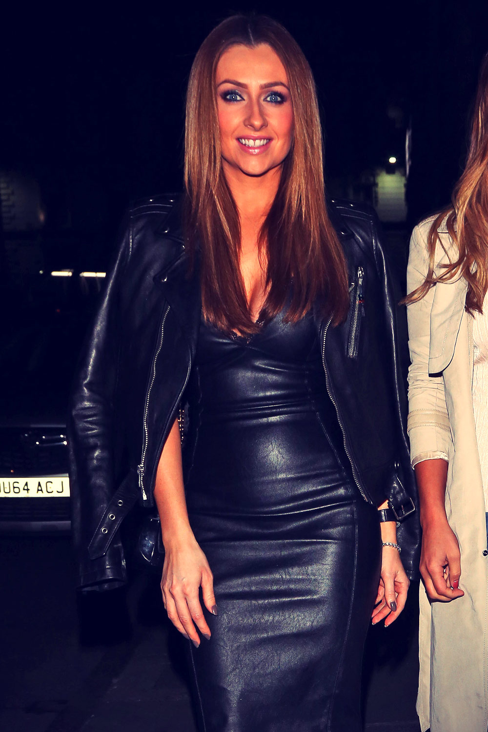 Gemma Merna Outside Nyl Restaurant In Liverpool Leather