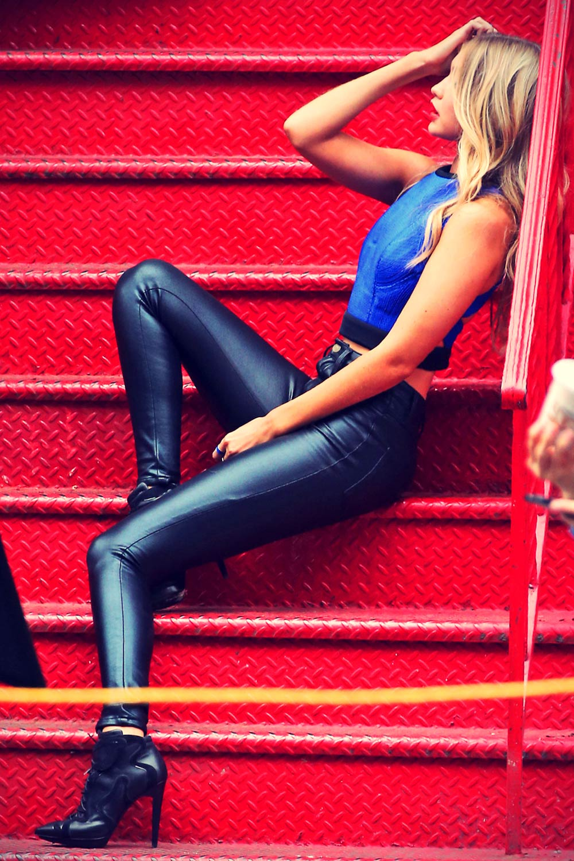 Gigi Hadid seen posing for a Maybelline photo shoot