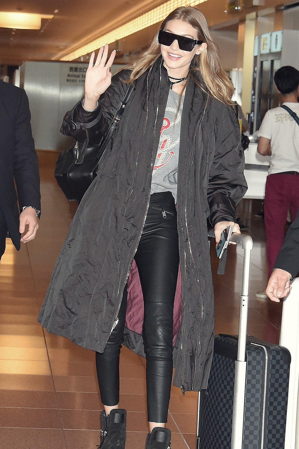 Gigi Hadid is seen at Haneda Airport