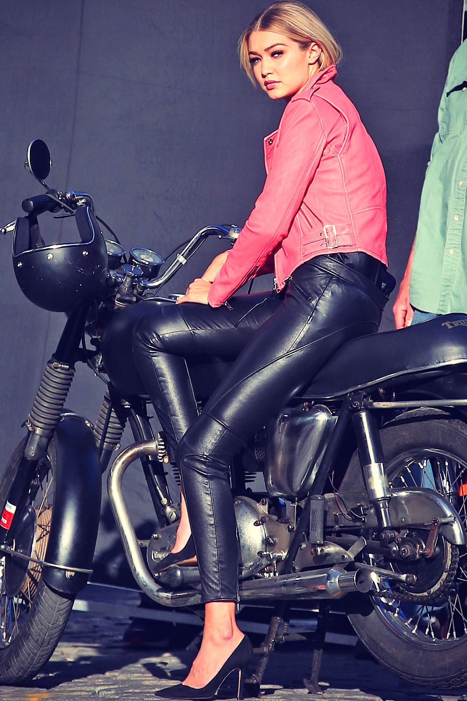 Gigi Hadid is seen on a photo shoot in New York City