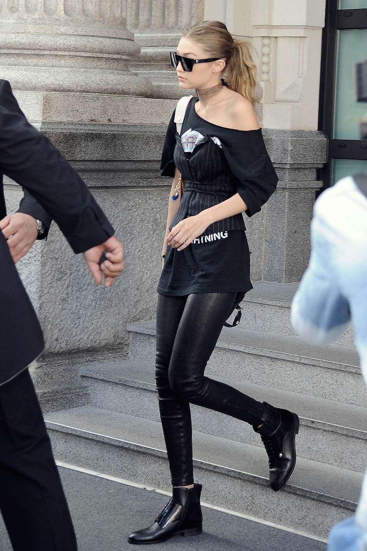 Gigi Hadid leaving the Nay Mara Fashion Show