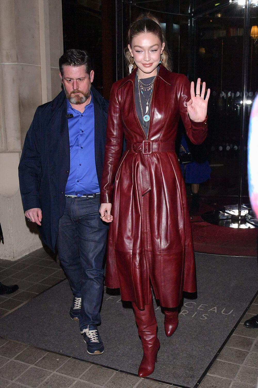 Gigi Hadid arriving at Tommy Hilfiger fashion show