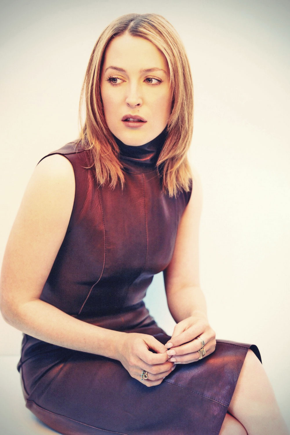 Gillian Anderson leather dress