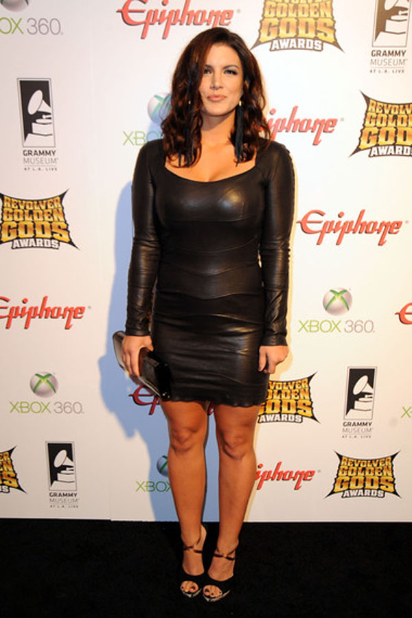 Gina Carano leather dress
