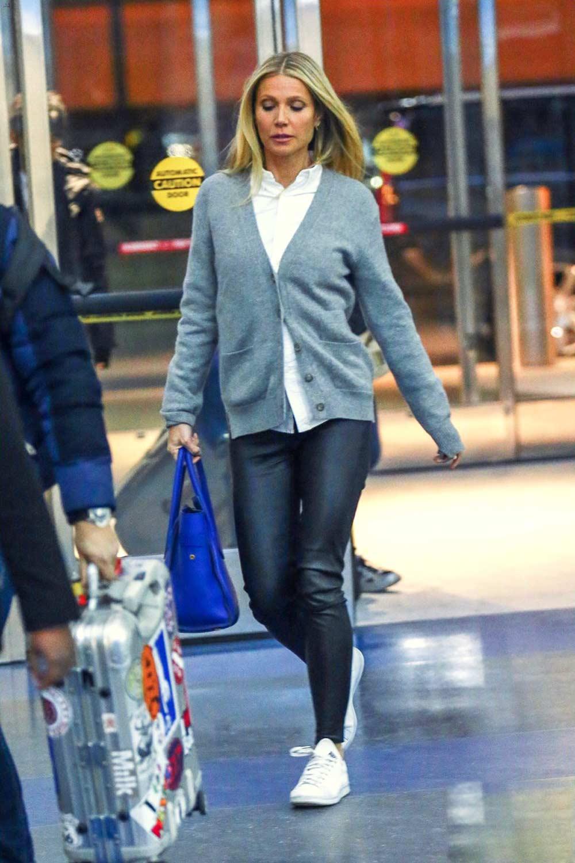 Gwyneth Paltrow Heads Into Jfk Airport Leather Celebrities