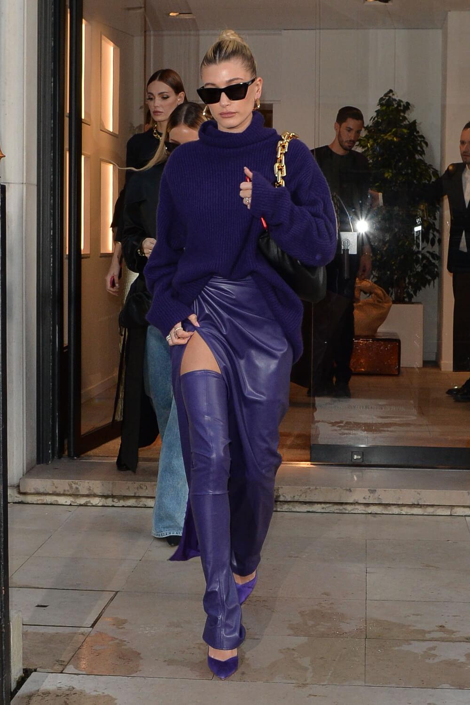 Hailey Bieber seen going out of the Balenciaga store