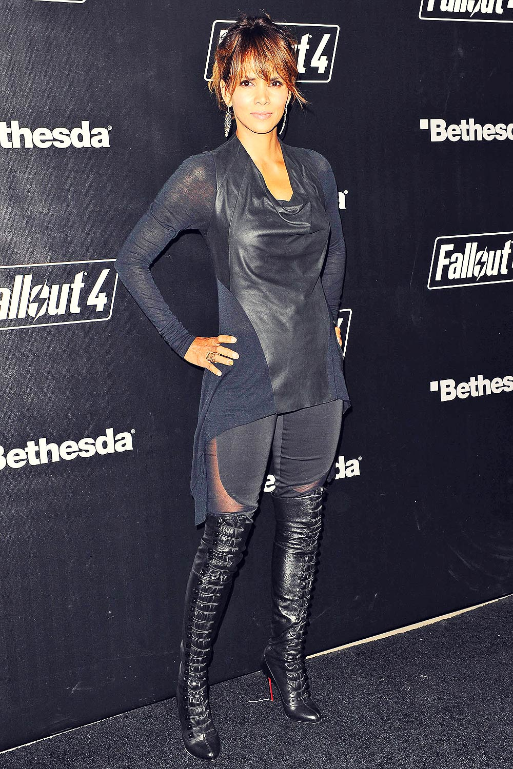 Halle Berry Attends Fallout 4 Launch Party Leather