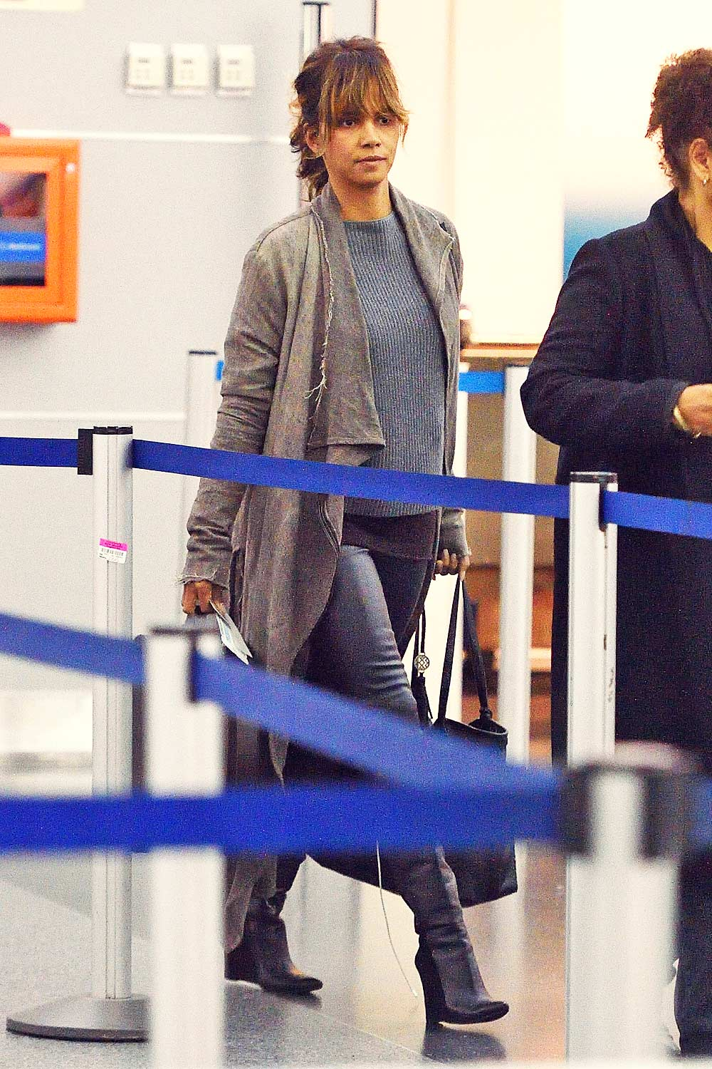 Halle Berry arrives to catch a flight at JFK airport