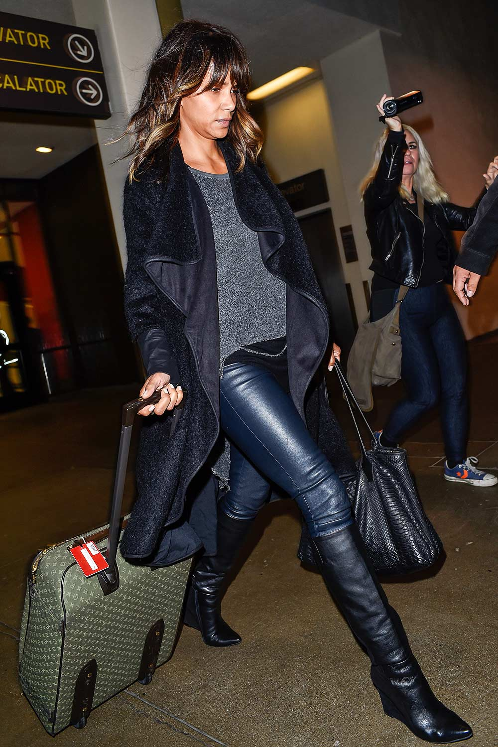 Halle Berry is seen arriving on a flight at LAX airport
