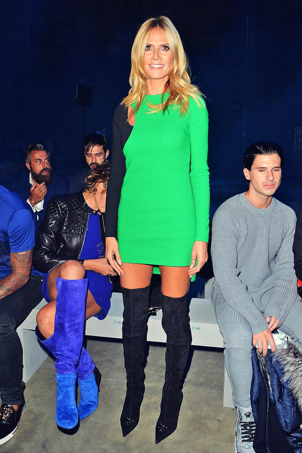 Heidi Klum attends Versace front row during Milan Fashion Week