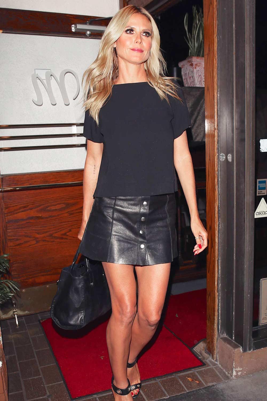 Heidi Klum Leaving Madeo Restaurant Leather Celebrities