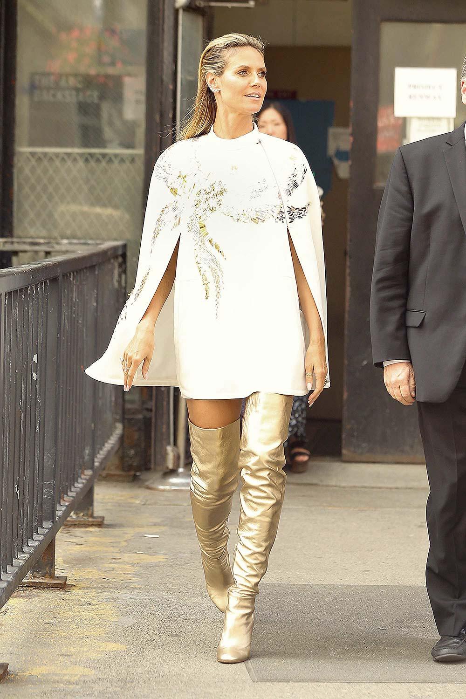 Heidi Klum Seen In New York Leather Celebrities